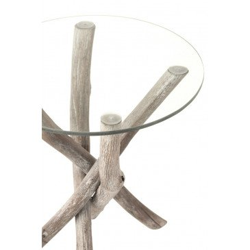 Table D'appoint Branches Bois/Verre Gris | www.cosy-home-design.fr