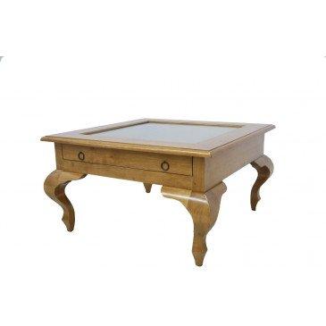 Table Basse Vitrée Style Campagne 1 Tiroir Bois Massif Cottage   www.cosy-home-design.fr