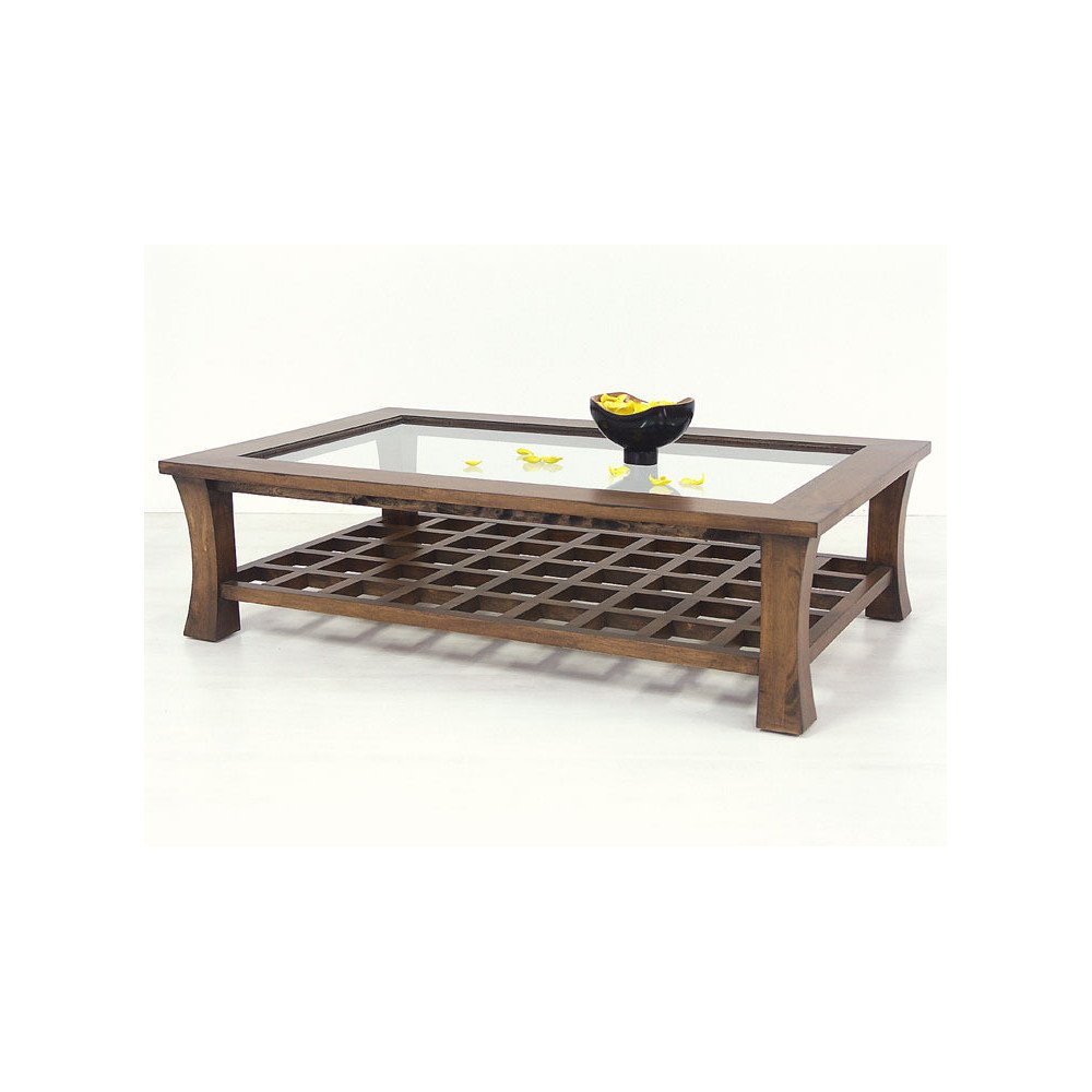 Table Basse Vitrée Style Asiatique Bois Massif Ying   www.cosy-home-design.fr