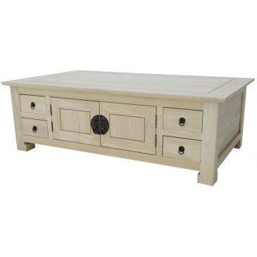 Table Basse Style Asiatique 8 Tiroirs 4 Portes Bois Massif Beijing | www.cosy-home-design.fr