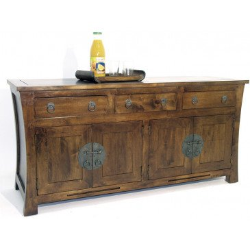 Buffet Style Asiatique 3 Tiroirs 4 Portes Bois Massif Ying | www.cosy-home-design.fr