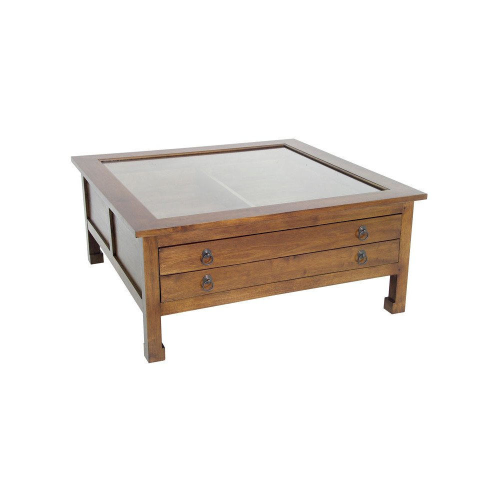 Table Basse Style Asiatique 2 Tiroirs Bois Massif Beijing | www.cosy-home-design.fr