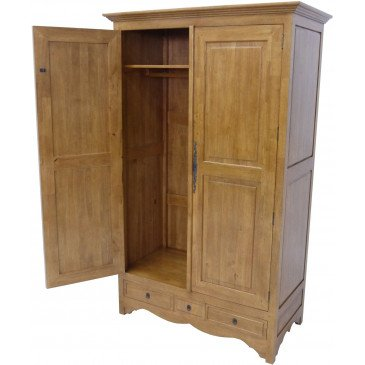 Armoire Penderie  Style Campagne 3 Tiroirs 2 Portes Bois Massif Cottage | www.cosy-home-design.fr