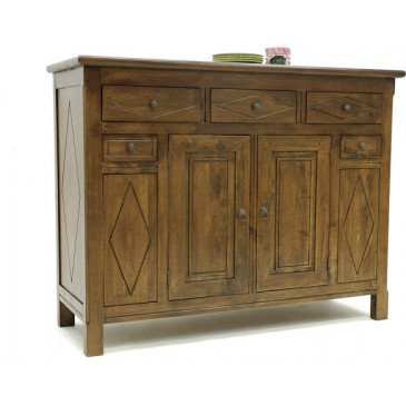 Buffet Bas Style Campagne 5 Tiroirs 2 Portes Bois Massif Cottage | www.cosy-home-design.fr