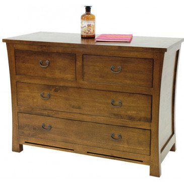 Commode Style Asiatique 4 Tiroirs Bois Massif Ying   www.cosy-home-design.fr