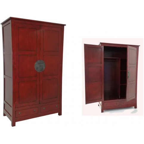 Armoire Style Asiatique 2 Tiroirs 2 Portes Bois Massif Ying | www.cosy-home-design.fr
