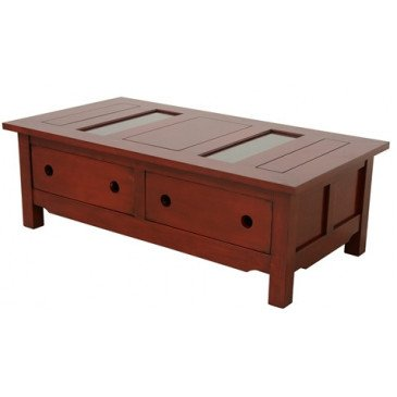 Table Basse Style Contemporain 2 Tiroirs Bois Massif Mahon | www.cosy-home-design.fr