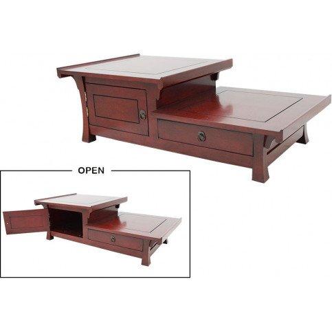 Table Basse Style Asiatique 1 Tiroir 2 Portes Bois Massif Pékin | www.cosy-home-design.fr