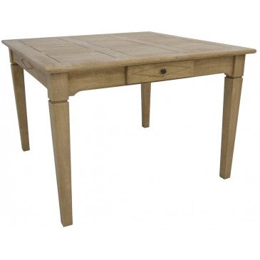Table de Repas Style Campagne 2 Tiroirs Bois Massif Cottage | www.cosy-home-design.fr