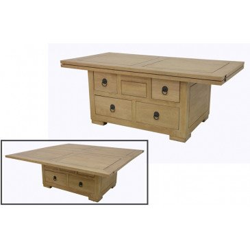 Table Basse Style Asiatique 5 Tiroirs Bois Massif Beijing   www.cosy-home-design.fr