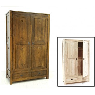 Armoire Penderie  Style Ethnique 2 Tiroirs 2 Portes Bois Massif Aloha | www.cosy-home-design.fr