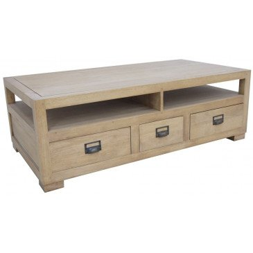 Table Basse Double Face Style Campagne 3 Tiroirs Bois Massif Valley | www.cosy-home-design.fr