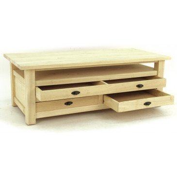 Table Basse Double Face Style Campagne 3 Tiroirs Bois Massif Valley   www.cosy-home-design.fr