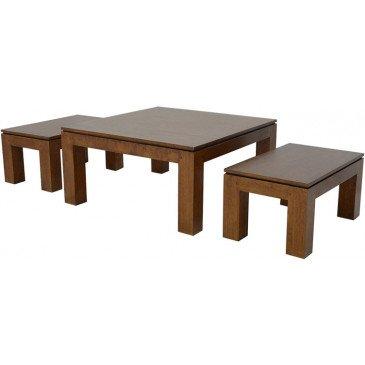 Set de 3 Tables Basses Style Classique Bois Massif Bruges | www.cosy-home-design.fr