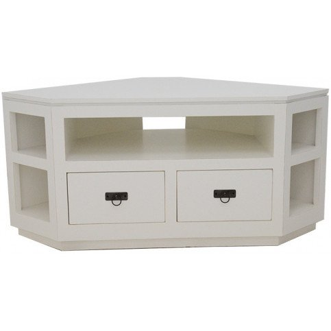 Meuble TV Angle Style Classique 2 Tiroirs Bois Massif Bruges   www.cosy-home-design.fr