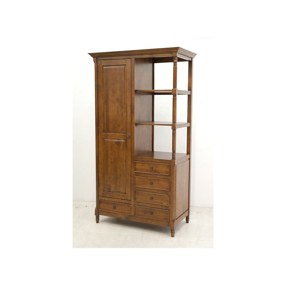 Armoire Style Classique 5 Tiroirs 1 Porte Bois Massif Beaubourg | www.cosy-home-design.fr
