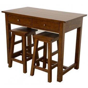 Set de Table à Tiroirs et 2 Tabourets Style Moderne Bois Massif Erin | www.cosy-home-design.fr