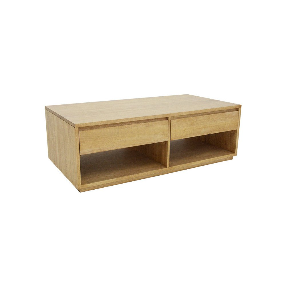 Table Basse Double Face Style Scandinave 2 Tiroirs Bois Massif Skur | www.cosy-home-design.fr