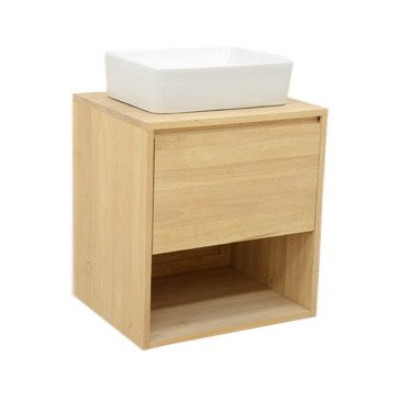 Meuble pour Vasque de Salle de Bain Style Scandinave 1 Tiroir Bois Massif Skur   www.cosy-home-design.fr