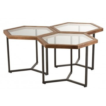 Set 3 Tables d'Appoint Hexagone Verre/Bois Marron