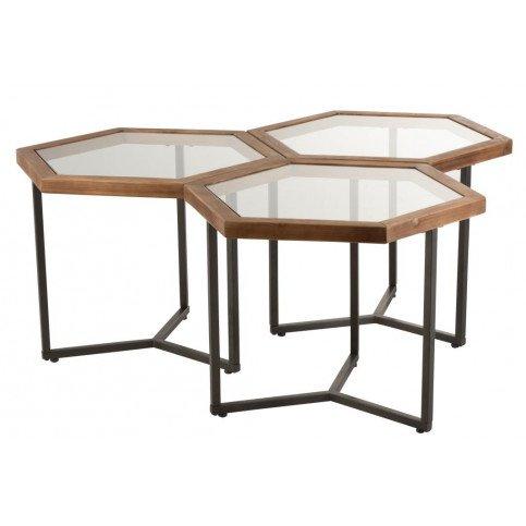 Set 3 Tables d'Appoint Hexagone Verre/Bois Marron