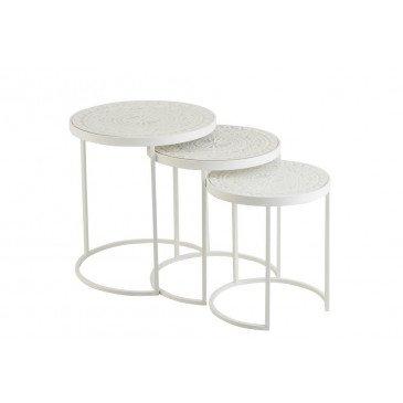 Set 3 Tables Gigognes Hautes Métal/Mdf Blanc