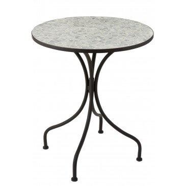 Table Eclat Mosaique Métal/Verre Noir/Bleu Ciel