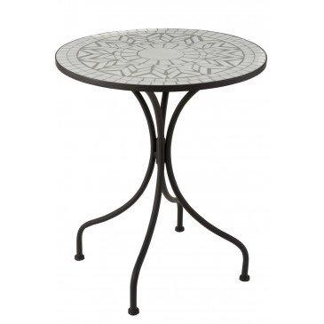 Table Etoile Mosaique Métal/Verre Noir/Blanc