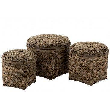 Set 3 Paniers Tissés Avec Couvercle Bambou Marron