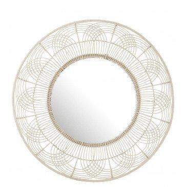 Miroir Rond Fleur Bambou Blanc