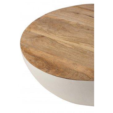 Table Ronde Bois Manguier/Métal Naturel/Blanc Small