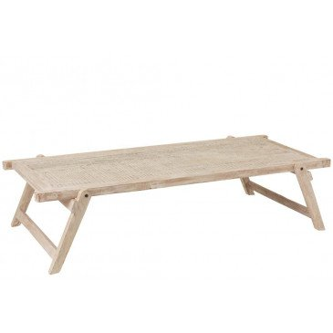 Table Lit Militaire Bois Recyclé Blanc Délavé