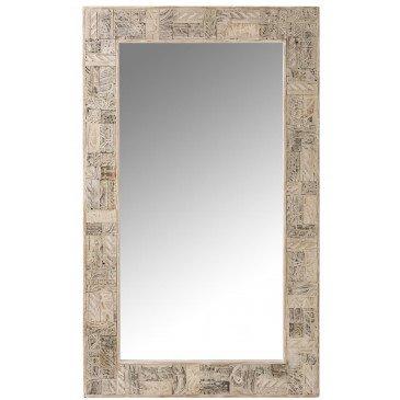 Miroir Symboles Rectangulaires Bois Recyclé Blanc Délavé