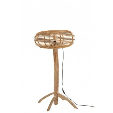 Lampe Sur Pied Miye Rotin/Teck Naturel Small