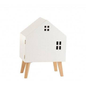 Armoire Maison Sur Pieds Avec Porte Mdf/Bois Pin Blanc