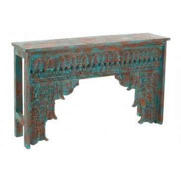 Console Orientale Bois Manguier Azur/Orange