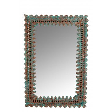 Miroir Oriental Bois Manguier Azur/Orange