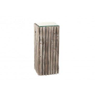 Socle Carre Morceaux Bois/Verre Grey Wash