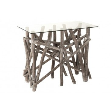 Console Rectangulaire Branches Bois/Verre Grey Wash