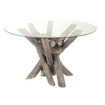 Table Ronde Branche Bois/Verre Grey Wash