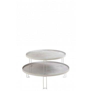 Set 2 Tables Marbrées Fer/Verre Blanc