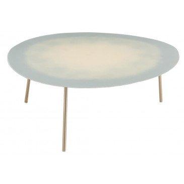 Table Salon Métal Laque Bleu Clair Extra Large