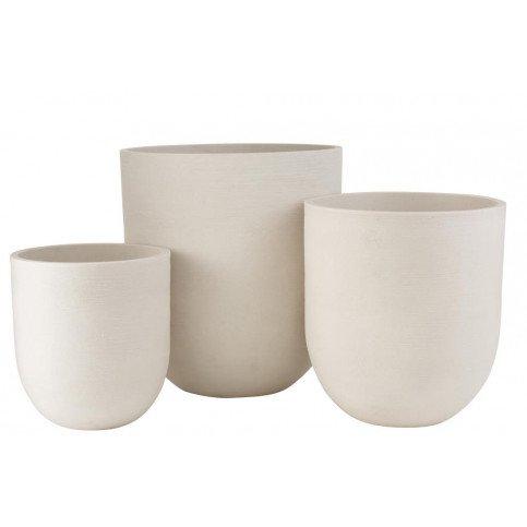 Set 3 Vases Ronds Ceramique Haut Blanc