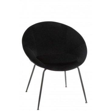 Chaise Ronde Métal/Textile Noir