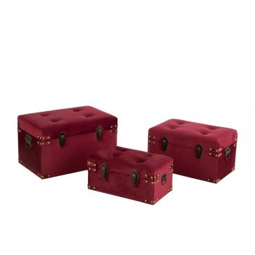 Set 3 Valise Haute Velours Bordeaux Small