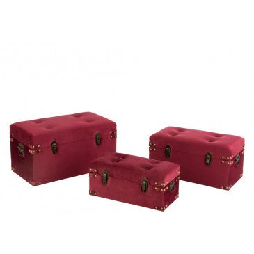 Set 3 Valise Haute Velours Bordeaux Large