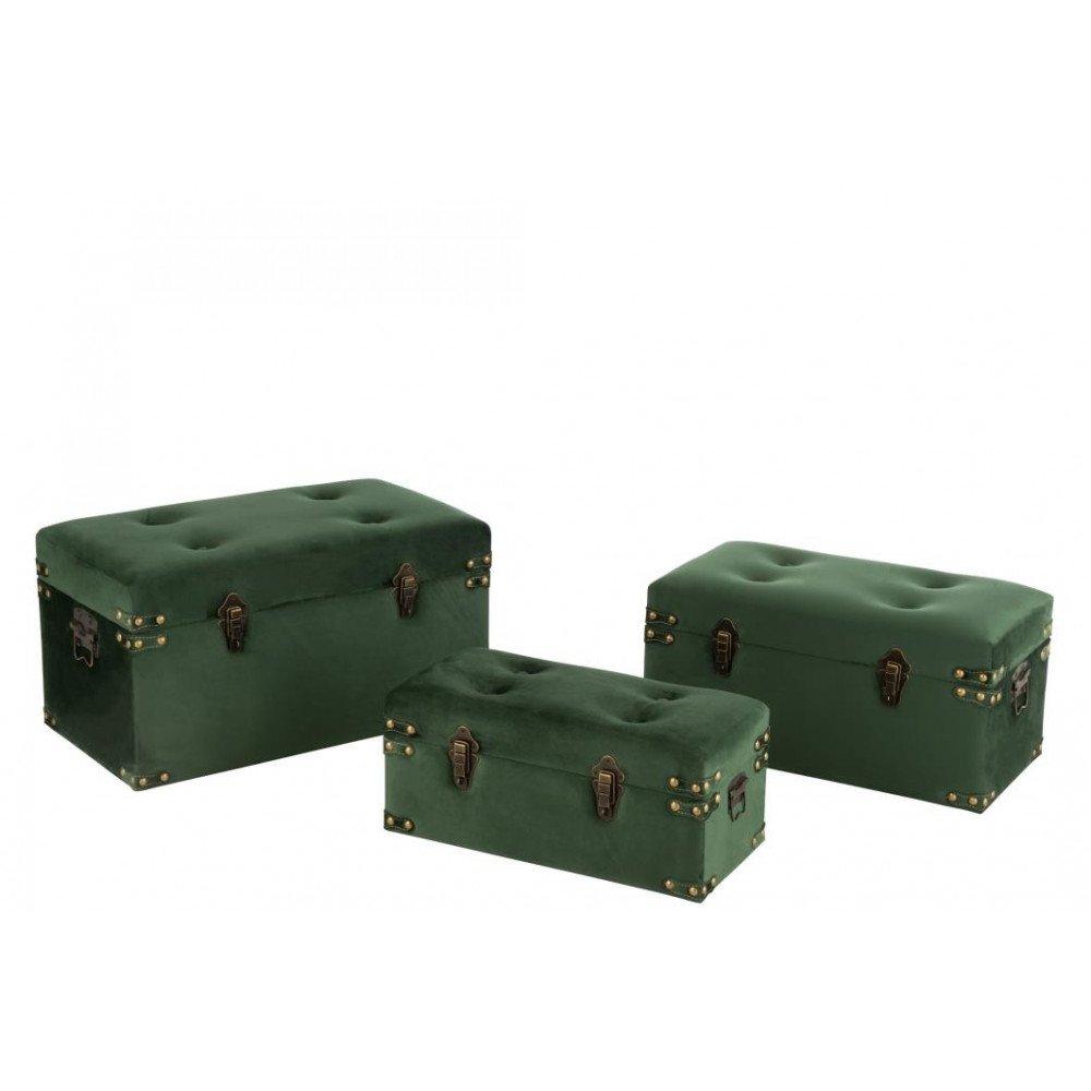 Set 3 Valise Haute Velours Vert Large