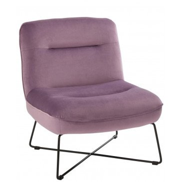 Chaise Lounge Support Textile/Métal Mauve