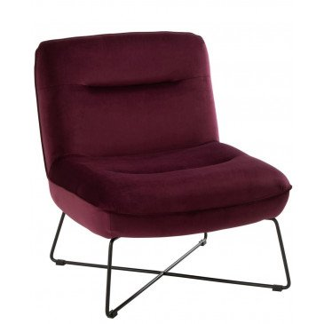 Chaise Loune Support Textile/Métal Burgundy