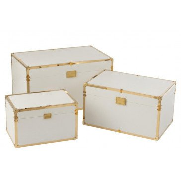 Set 3 Coffre Rectangulaire Bois Blanc/Or